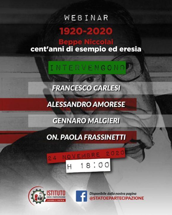 Webinar 1920-2020 Beppe Niccolai: cent'anni di esempio ed eresia   Istituto Stato e Partecipazione